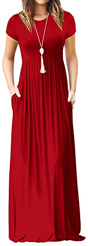 LunaJany Women's High Waist Short Sleeve Casual Pocket Pullover Maxi Dress