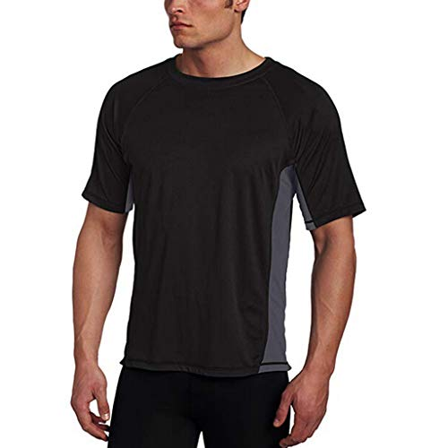 Mens Slim Solid Color Short Sleeve T-Shirt Casual Crew Neck Workout Gymming Sporty Sweatshirts Black