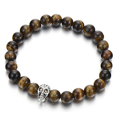 COOLSTEELANDBEYOND 8MM Tiger Eye Stones Mens Boys Bead Bracelet with Skull, Prayer Mala,