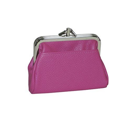 Leather Coin Purse (Buxton Womens Leather Triple Frame Coin Purse Credit Card Holder Wallet (Fushia))