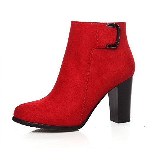 Red Boots Closed Materials Toe Top Women's Low Allhqfashion Solid Blend Zipper Heels High zippers BqaS74x