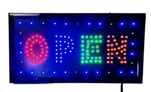 LED Open Sign On/off with Chain High Visible Bright Colors Led Moving Flashing Animated Neon Sign Motion Light 19x10 (OPEN3)