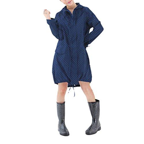 TopTie Ladies Hooded Rain Jacket Lightweight Long Sleeve Trench Coat Jacket NAVY-S