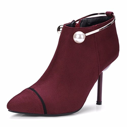 RFF-Women's Shoes Winter Pearl Suede High-Heeled Boots Fine Metal Ring With The Boots gules KmUnBTdnRg