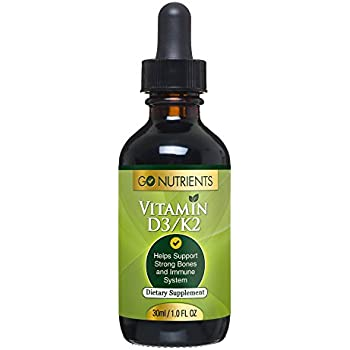 Vitamin D3 with K2 Liquid Drops - Go Nutrients Daily Liquid Vitamin Supplement That Strengthens Bones and Teeth - Boost Immune System - High Potency and Max Absorption - 1 oz