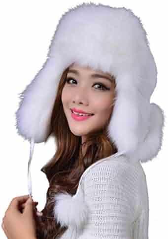 ee042b22fde Unisex Winter Hat Faux Fur Trapper Hat Cotton Wool Blend Warm Ushanka  Russian Hunting Hat Headshion