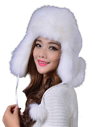 LITHER Women Real Fox Fur Winter Warmer Ushanka Bomber Hat (White)
