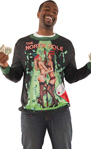 Faux Real Men's Sublimated Ugly Xmas Sweater Long Sleeve T-Shirt, North Pole, Small]()