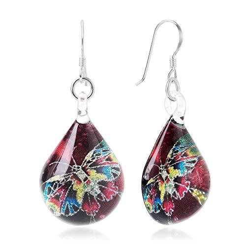 Murano Butterfly Ring - Sterling Silver Hand Blown Glass Multi-Colored Butterfly Red Teardrop Dangle Earrings for Women