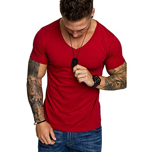 - Men's T-Shirts Casual Slim Fit Short Sleeve V Neck Solid Color Sexy Shirt Top Blouse (XXL, Red)