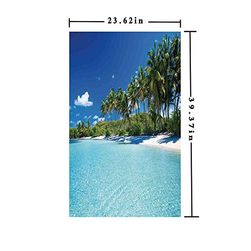 Palm Tree Resort - Homenon No Glue Static Cling Window Film Decorate by Relax Beach Resort Spa Palm Trees and Sea,W15.7xL63in,Privacy Decorative Glass Film with