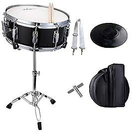 ADM 14″X 5.5″ Student Snare Drum Set, Kids Snare Drum Beginner Kit with Stand, Drum Mute Pad, Strap, Drum Sticks, Drum Keys, Black