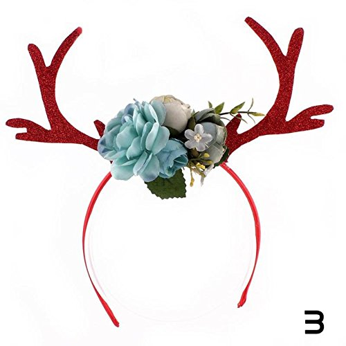 Christmas Deer Antler Headband Festive Party Dressing Elk Hairhoop Photo props Flowers Hair Decor For Children Gift 3
