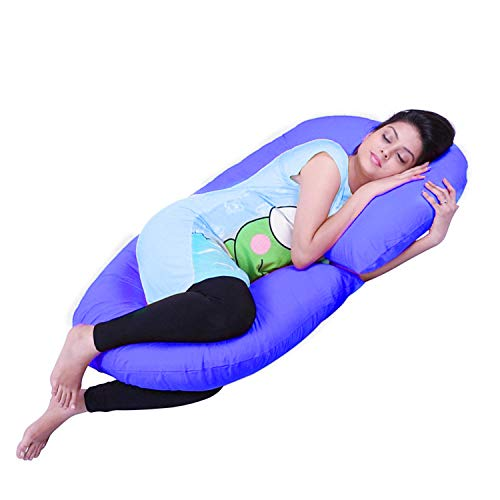 Fancy Buying Full Body Pregnancy Pillow-Full Maternity Pillow for Pregnant Women and Back Pain,C Shaped Body Pillow w/Removable Cotton Pillow Cover (Blue)