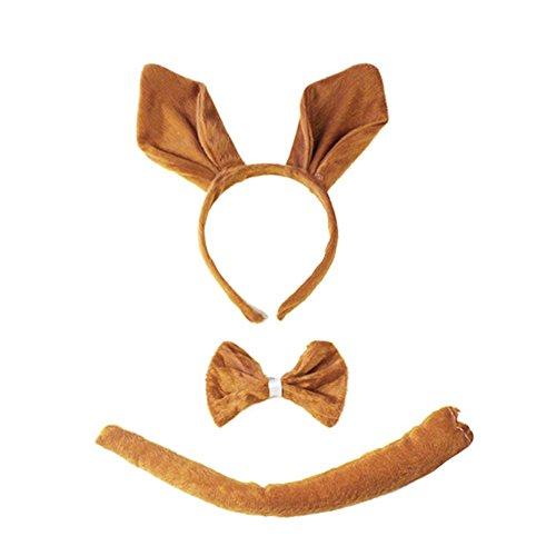 Funbase Kids Kangaroo Ear Headband Tie Tail Three Pieces Cosplay Decor]()