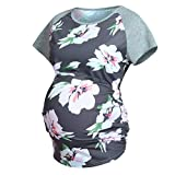 SuperUS Maternity Top Women's Short Sleeve Round Neck Pregnancy Striped Shirts Clothes