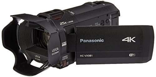 Panasonic 4K Ultra HD Camcorder HC-VX981K, 20X Optical Zoom, 1/2.3-Inch BSI Sensor,...