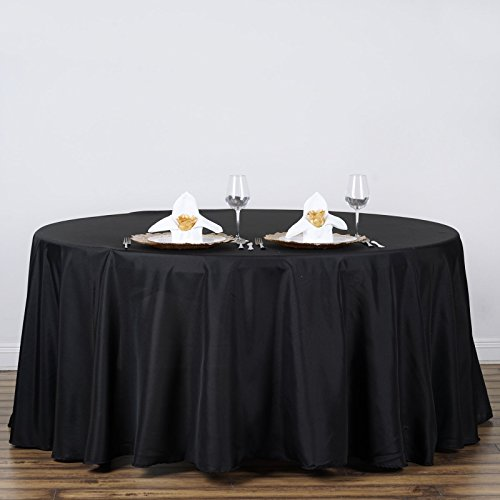 LinenTablecloth 120-Inch Round Polyester Tablecloth Black ()