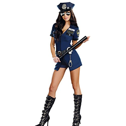 [Nanxson(TM) Women's Sexy Police Uniform Officer Adult Costume EXW0015 (blue)] (Bunny Dress Tux Tails Adult Costumes)