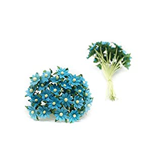 1cm Turquoise Paper Daisies, Mulberry Paper Flowers, Miniature Flowers For Crafts, Mulberry Paper Daisy, Paper Flower, Artificial Flowers, 50 Pieces 2