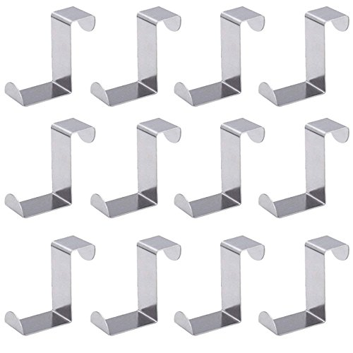 Tsuen 12 Pack Over The Door Hooks Z Shaped Hooks Hangers, Heavy Duty Metal Hanging Hooks Hangers Clothes Storage Rack for Kitchen, Bathroom, Bedroom, Work Shop, Garden and Office (3 x 4.5 x 6cm) by Tsuen
