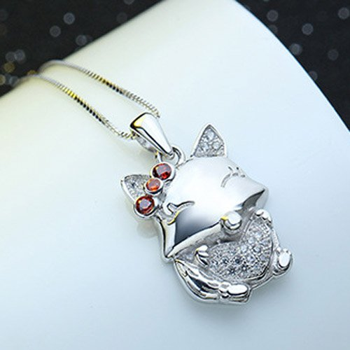 Chaomingzhen Sterling Silver Rhodium Plated Cubic Zirconia Squirrels Heart Pendants Necklaces Women