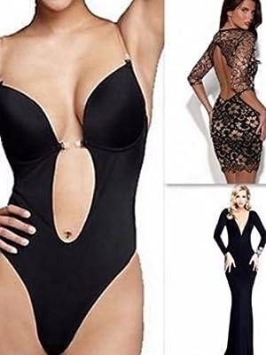 LAZAWG Women's Full Body Shaper Thong Convertible Seamless U Plunge Body Suit.