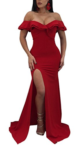 off shoulder red evening dress - 7