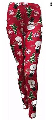 Unknown - Legging - Skinny - Femme rouge Red Snowman