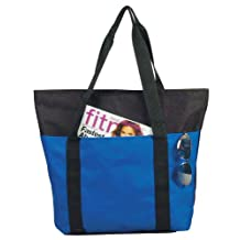 "DALIX 20"" Zippered Tote Bag with Outer Pocket Shopping Bag Two Toned Black -Royal Blue-12 PACK"