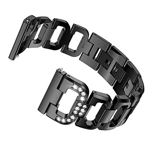 YOFUNTLE Compatible for Ticwatch S2 Bands & Ticwatch E2 Bands,Women Men 22mm Metal Replacement Strap Wristband for Samsung Galaxy 46mm Watch,TicWatch S2/E2/Pro GPS Fitness Smartwatch Bands (Black) - Ladies Black Metal