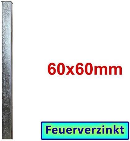 zum Einbetonieren 60x60x3mm Zaun- Torpfosten VZ L = 1500mm BAUER