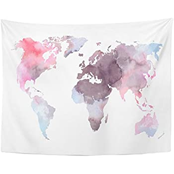 Emvency Tapestry Atlas Colorful World Map Watercolor Abstract Perfect Watercolour Africa Home Decor Wall Hanging for Living Room Bedroom Dorm 60x80 inches