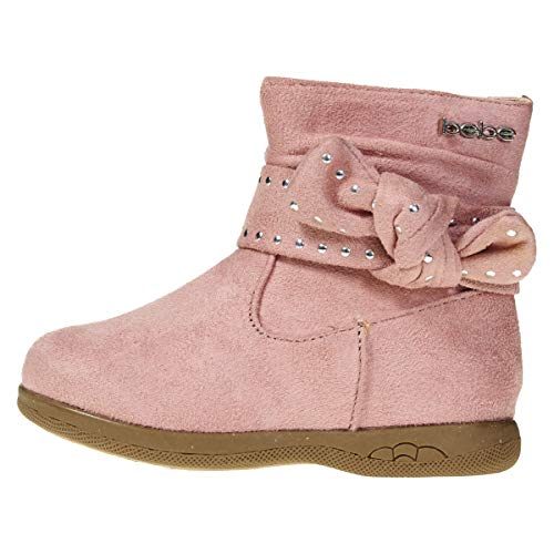 Toddler Girls Microsuede Boots Size 7 with Side Bows Slip-On Fashion Shoes Blush
