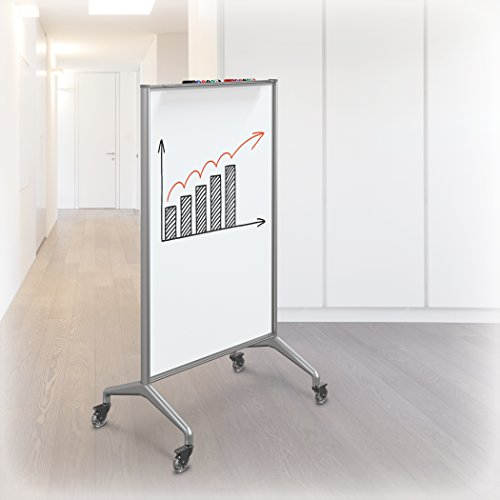 MooreCo Glider Mobile Whiteboard Divider, Small, Porcelain Steel (84222)