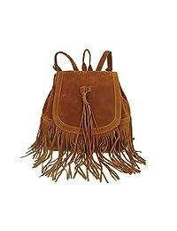 Abuyall Fringe Tassel Backpack Vintage Women Travel Shoulder Bags Hobo Bag