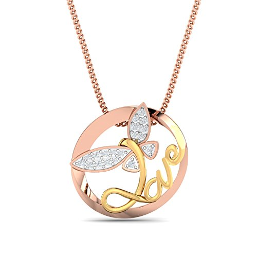 KuberBox 14KT Two Colour Gold and Diamond Pendant for Women