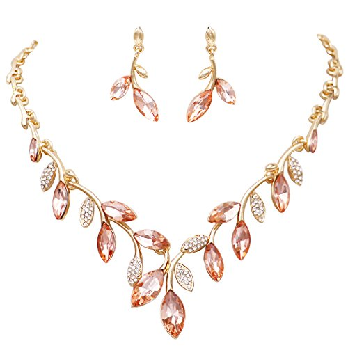 Rosemarie Collections Women's Crystal Leaf Jewelry Set - Peach Necklace Crystal