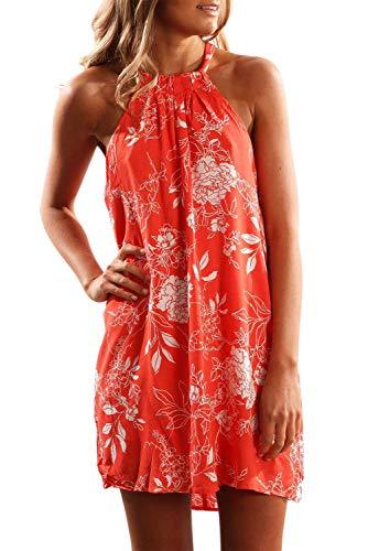 (Alaster Queen Women's Printed Halter Beach Sleeveless Short Dress Flower Style Mini Casual Dress Red Floral)