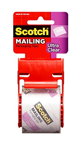 Scotch Ultra Clear Mailing Packaging Tape with dispenser, 1.88 x 800 Inch, 1.5 inch Core, Clear (141)