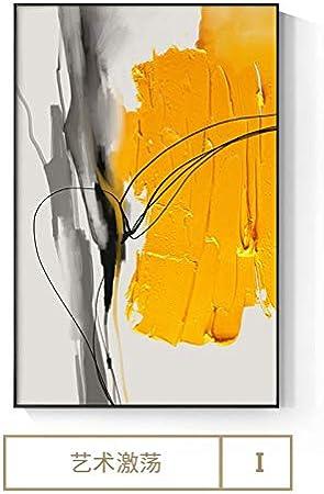 Flduod Pintura Impresa en Lienzo Póster de Lienzo con ura de Arte de Pared Amarilla Abstracta, Cuadro Moderno Brillante para Sala de Estar, dormio, Estudio de Arte, Nodic Deco