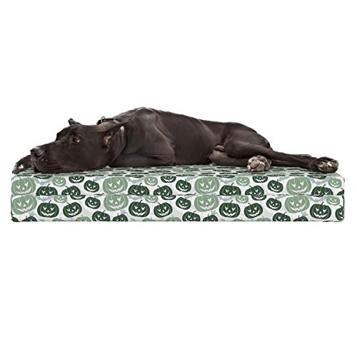 - Lunarable Pumpkin Dog Bed, Bats and Ghost Silhouettes Background with Scary Carved Autumn Fruits, Durable Washable Mat with Decorative Fabric Cover, 48