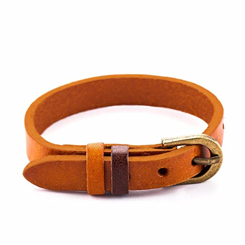 Zen Styles Premium Quality Men's Leather Wristband Cuff Bracelet with Buckle Closure, Adjustable (Light Brown) (Brown Leather Quality)