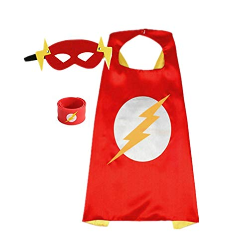 Superhero Capes for Kids, Dress up Costumes-Satin Cape with Felt Mask and Bracelet (C-The Flash)]()