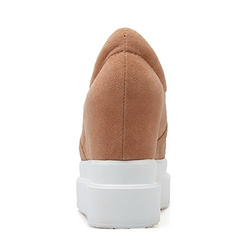 VogueZone009 Women's High-Heels Frosted Solid Pull-on Round Closed Toe Pumps-Shoes Apricot cylAjAk