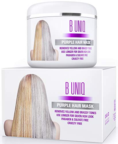 Purple Hair Mask For Blonde, Platinum & Silver Hair - Banish Yellow Hues: Blue Masque to Reduce Brassiness & Condition Dry Damaged Hair - Sulfate Free Toner - 7.27 Fl. Oz / 215 ml (Best Beauty Supply Virgin Hair)