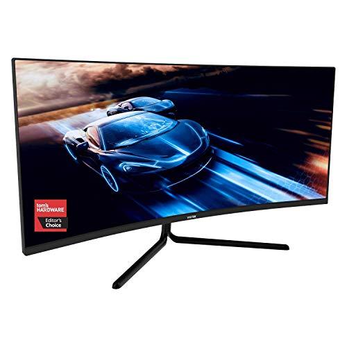 VIOTEK GNV34DBE Monitor curvo para juegos de 34 pulgadas | 144Hz UWQHD 4ms | 2X HDMI 2.0, 2X DisplayPort 1.4, 3,5 mm | Preparado para G-Sync, FreeSync | Garantía de 3 años (VESA)