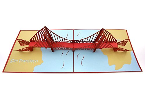 PopLife Golden Gate Bridge 3D Pop Up Greeting Card for All Occasions - Travellers, Architecture, History Lovers - Folds Flat for Mailing - Birthday, Graduation, Retirement, Anniversary, Thank You