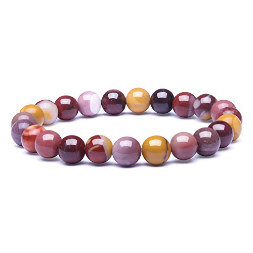 Candyfancy 8mm Natural Mookaite Jasper Stone Healing Elastic Beaded Stretch Bracelets Women Men DIY Spiritual Bracelet For7.5-9Inch Wrist(Natural Mookaite Jasper) ()