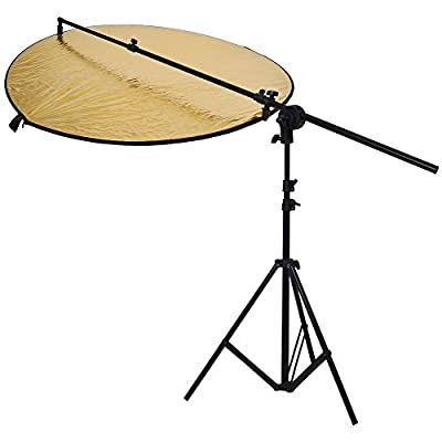 "Neewer® Photo Studio Reflector Kit,Include:(1)43""/ 110cm 5-in-1 Collapsible Multi-Disc Light Reflector+(1)Bracket Grip Holder 24""-47""/60-120cm Swivel Head Reflector Arm Support +(1)6 Feet/75"" 190cm Photography Light Stand from Neewer"